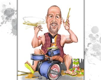 Custom Caricature - 1 person - custom art, farewell gift, retirement gift- great gift for him!