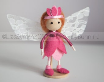 Tulip Flower Fairy Doll with Lace Wings Fantasy Art Doll Bendy Doll Fairy Festival Fairy Gift