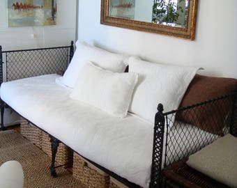 Antique 19th Century Cast Iron Folding Campaign Bed / Daybed