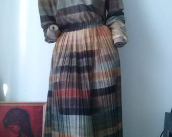 Vintage 80s earth tones striped l/s tea dress size 12-14