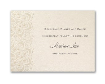 Ecru Wedding Reception Cards, Shimmering Pearl Foil Lace Detail, Thermography Printed