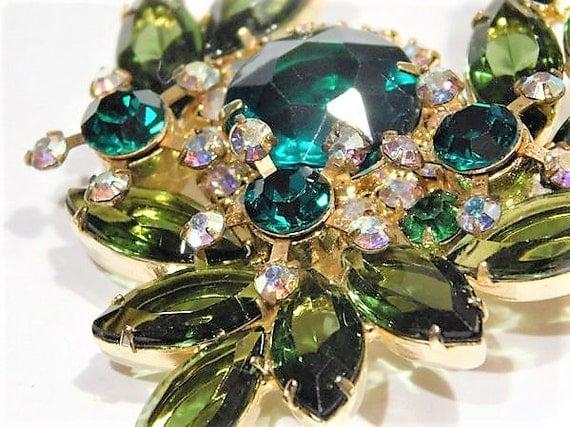 Juliana DeLizza Elster D & E Rhinestone Brooch Verified D E Mid Century Vintage 1960s Hollywood Emerald Green AB Aurora Borealis Wedding