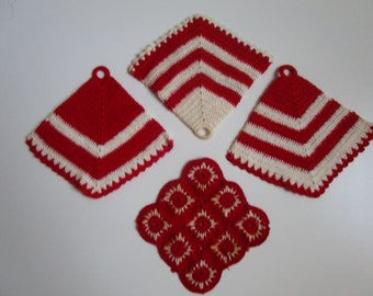 Vintage Pot Holders 1940s - Handmade by My Great Aunt!