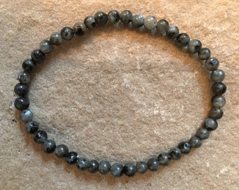 Norwegian Larvikite gemstone smooth 4mm beaded bracelet - Black Larvikite is Norweigan moonstone