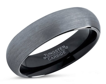 Tungsten Ring Mens Brushed Silver Black Wedding Band Carbide 6mm Man