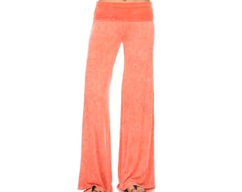 Bohemian separates, soft palazzo pants, peach palazzo pants, wide leg pants, women's pants, fold over pants, maternity pants, palazzo, yoga