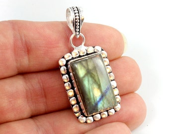 Labradorite and Sterling Silver Pendant. Green Labradorite Pendant. Sterling Pendant. Rectangle Pendant. Green Stone Pendant. 44mm x 20mm