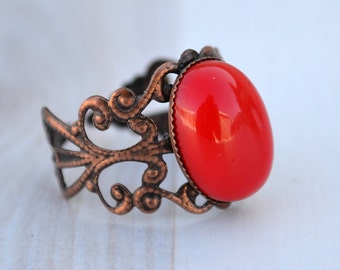 Red coral copper ring, Coral copper ring, Red coral ring, Ring with red coral, Copper red coral ring, Oval cabochon red coral ring.