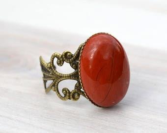 Red jasper ring, Red jasper antique bronze ring, Red jasper bronze ring, red jasper adjustable ring, Cabochon red jasper ring.