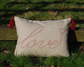Love Embroidered Pillow