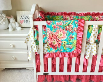 Love Bliss Bouquet Coral Baby Blanket, Minky Reverse with Soft Silky Satin Ruffle, Ritzy Baby Blankets, Love Bliss Baby Blankets