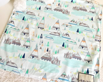 Mint Tee Pees Travel Lovey, Mint Baby Lovey, Travel Blanket, Night Night Blankets, Take to Grandma Blankets