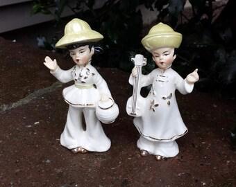 Vintage Asian Couple Figurines Lusterware Hats