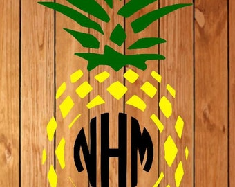 circle pineapple monogram decal, pineapple monogram decal, circle monogram decal, monogram decal, fruit decal, car decal, laptop decal,