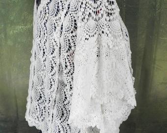 Vintage Ivory Cotton Lace Top      Free Size  Boho