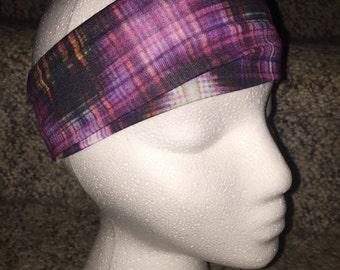 Stretchy Thick Headband/Sweatband that Stays Put. Aztec Digital Black