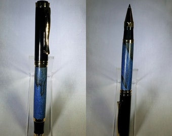 Blue Dyed Spalted Hackberry Oxford Rollerball Pen