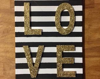 LOVE glitter canvas