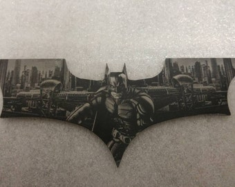 Batman, dark knight , arkham, Batman begins laser etched batarang