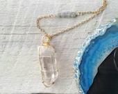 Quartz crystal necklace, gemstone necklace, celestial jewelry