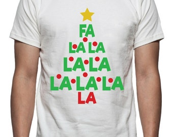 Fa La La Christmas Tree Tee Shirt Design, SVG, DXF, EPS Vector files for use with Cricut or Silhouette Vinyl Cutting Machines