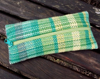 handwoven pencil cases for pens, odds and ends, green, blue to yellow shades of green, linen, cotton, broad stripes, gradient ooak