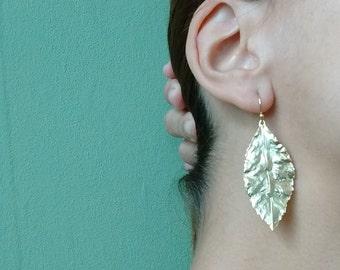 24K gold plated long leaf earrings