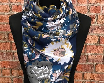 Cotton Spring scarf Big Flowers print/ Navy blue white and mustard - multicolour scarf