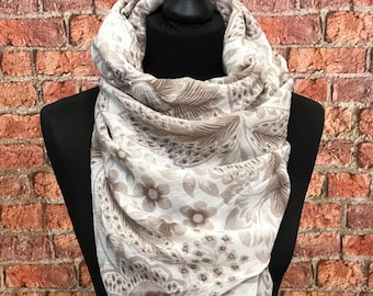 Cotton Spring scarf Floral print/Beige and Brown mix scarf/ Spring scarf