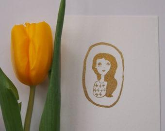 Original Gold Watercolour Mini Painting, Illustration