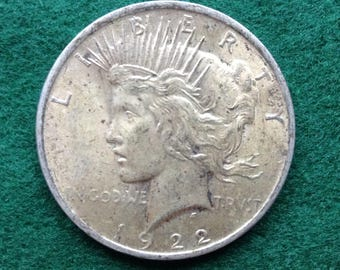 1922 P Silver Peace Dollar, Old American Coins, US Coin, 90 Percent Silver Dollars