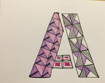 Zentangle inspired alphabet greeting cards