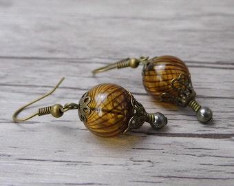 Balloon Earrings Bead Dangle Earrings Brown bead Earrings Hot Air Balloon Earrings Drop Earrings Statement Earrings Boho Earrings ED-001