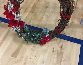Christmas Wreath, Holiday Wreath, Homemade Wreath, wreath