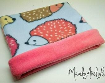 Fleece Snuggle Bag/Cuddle Sack - Pastel Hedgehog/Coral - For Hedgehog / Rat / Guinea Pig / Chinchilla / Ferret / Sugar Glider / Small Animal