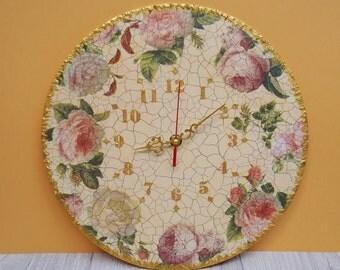 Wall clock vintage roses wood clock unique wall clock handmade clock wooden wall clock wall clocks art clock original gold beautiful gift