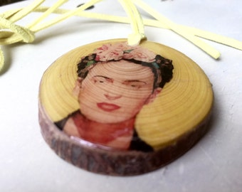 Frida Kahlo Wood Pendant Necklace Gift for Art Teacher or Frida Kahlo Fan Ecological Jewelry