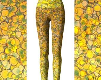 Aspen Yoga Leggings, Eco Friendly High Waist Leggings, Colorado Leggings, Yellow Leggings, Aspen Leggings, Colorado Yoga Pants