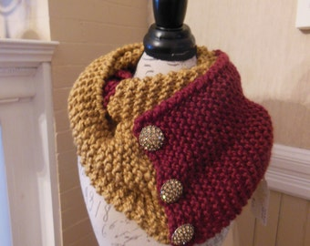 Mustard Yellow Maroon Harry Potter Infinity Scarf with Sprakly Buttons