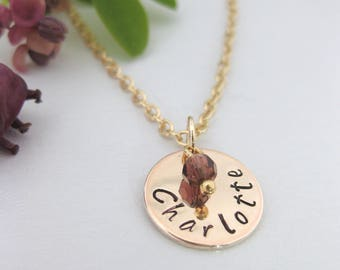 Rose Gold Tone Personalised Hand Stamped Name Pendant Birthstone Necklace Gift UK Seller