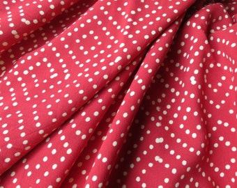 Red and White Dotted Rayon Fabric