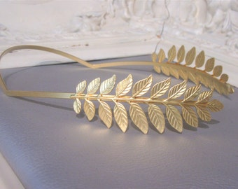 Wedding Hair Accessory, Golden Leaves reversed headband, Greek leaves crown, Athena Greek Goddess headband, Bridal Tiara