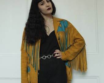 Vintage Yellow/Gold Turquoise Flame Suede Fringe Jacket M/L