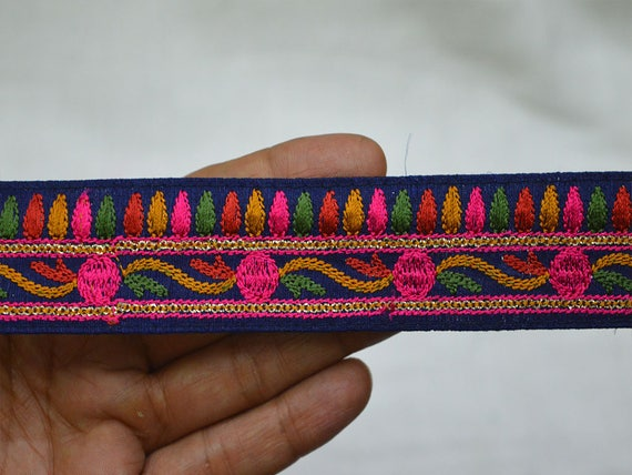 Fabric trim indian sari border trim by the yard for Craft ribbons and trims