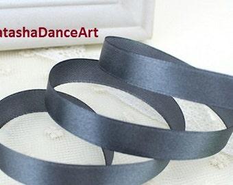 Dark Grey ribbon 1/2'' (12 mm), satin ribbon, ribbon by the yard, fabric ribbon, sewing ribbon, ribbon for crafts, 3 meters