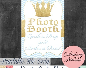 Prince Baby Shower Photo Booth Sign
