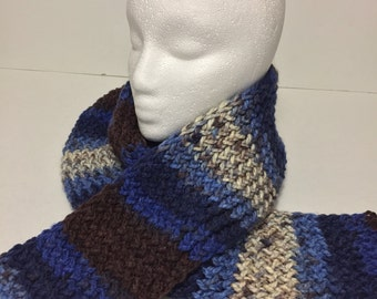 Handmade Knitted Scarf, Blue Knitted Scarf, Brown Knitted Scarf, Men's Knitted Scarf
