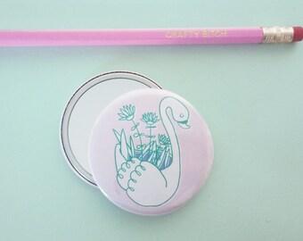 cute Swan planter pocket Mirror