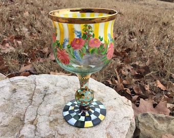 Mackenzie Childs Hand Painted Goblet Glass Retired Auntie Catherine