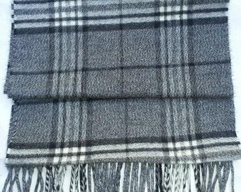 Mens scarf, womens scarf, plaid scarf, black scarf, vinatge scarf